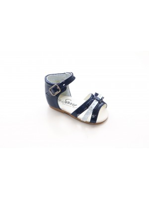 Patent girls bow sandal navy and white