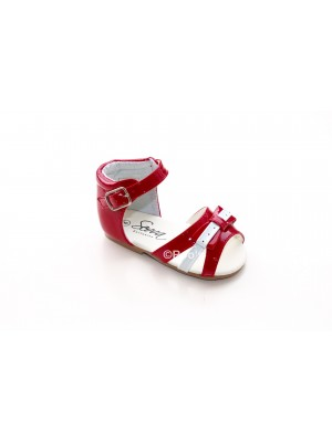 Patent girls bow sandal red and white