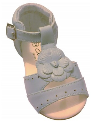 Pale blue t-bar flower sandal