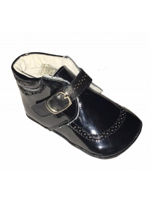 pram shoes boys black patent leather