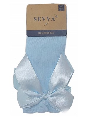 Knee high ribbon socks blue