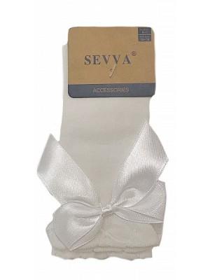 knee high ribbon socks cream