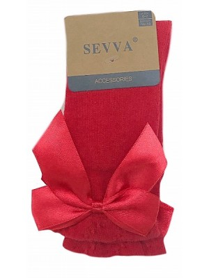 Knee high ribbon socks red