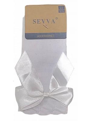 Knee high ribbon socks white