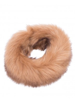 luxury faux fur headband camel