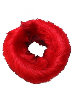 luxury faux fur headband red