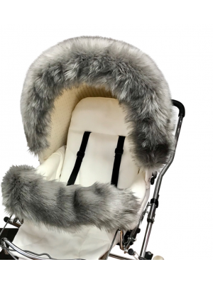 Luxury faux fur bumper bar grey