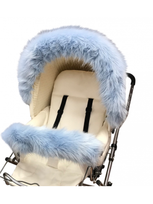 Luxury faux fur pram bumper bar baby blue