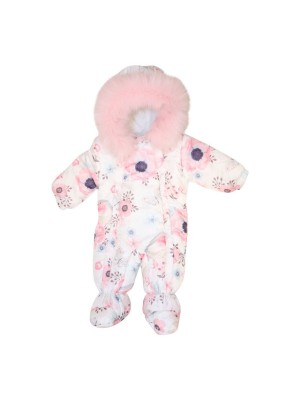 Luxury faux fur trimmed snowsuit pink print