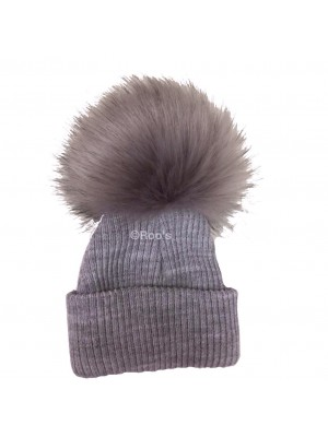 Luxury faux fur pom Pom hat grey