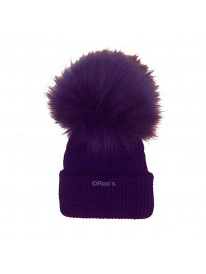 Luxury faux fur Pom Pom hat navy