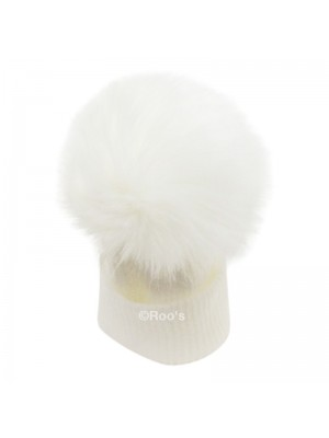 Luxury faux Fur Pom Pom Hat white