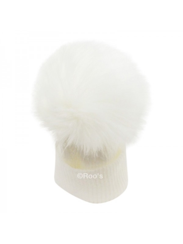 Luxury faux Fur Pom Pom Hat white 8ccda724446