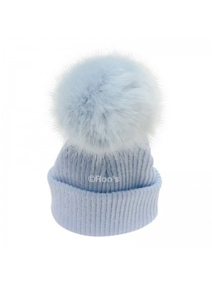 Luxury faux Fur Pom Pom Hat blue