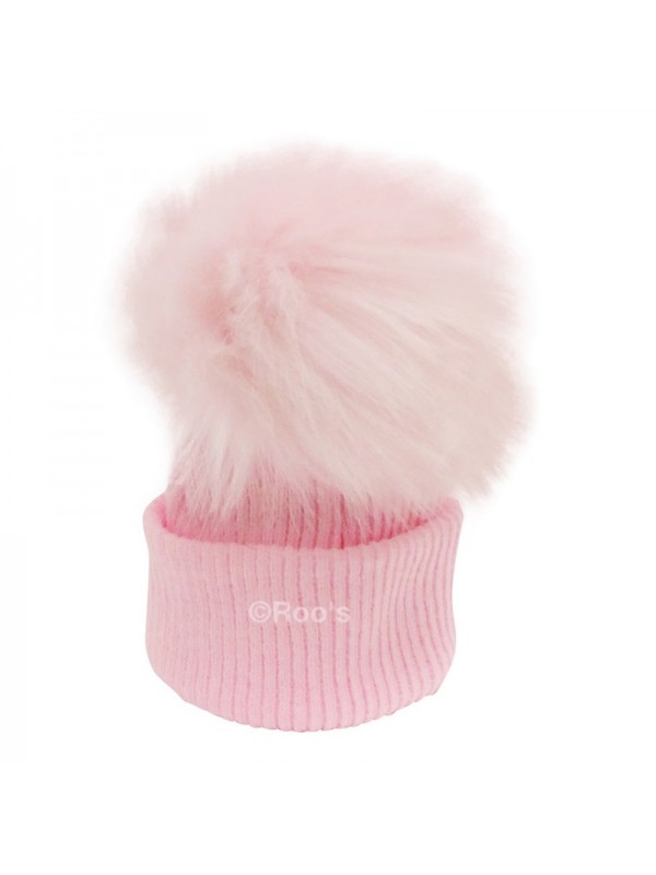 52f206e728b Luxury faux Fur Pom Pom Hat pink