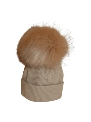 luxury faux fur pom Pom hat beige