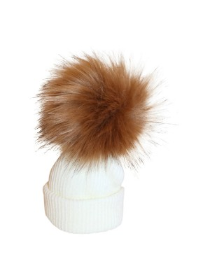 luxury faux fur Pom Pom hat cream