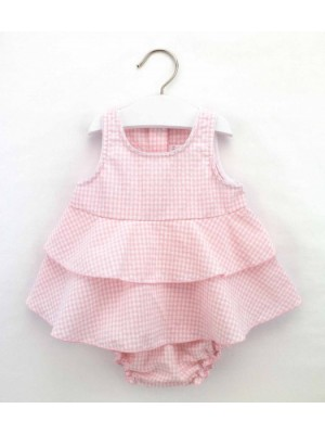 rapife pink gingham ruffle dress and knickers set