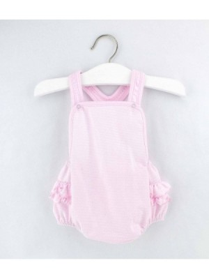 rapife pink ruffle bottom dungaree romper