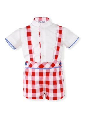 Miranda red white and blue checked shorts & shirt set