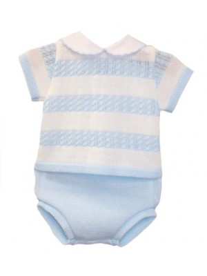 Sardon knitted blue and white striped 2 piece set