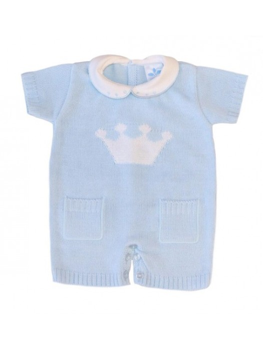 sardon blue knitted crown romper