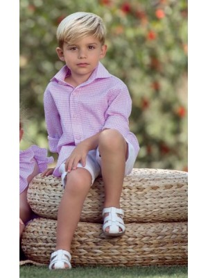 nekenia pink and white gingham boys set