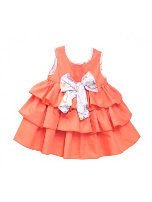 Babine coral ruffle layered puffball dress