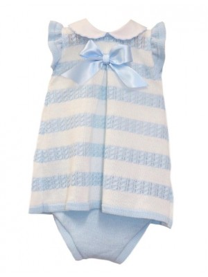 Sardon knitted blue and white dress and knickers set