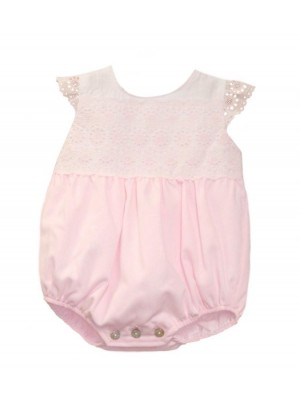 Babine pink lace trimmed bubble romper