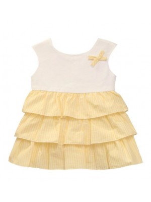 Babine white and yellow ruffle layered dress