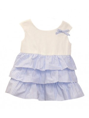 babine white and blue ruffle layered dress