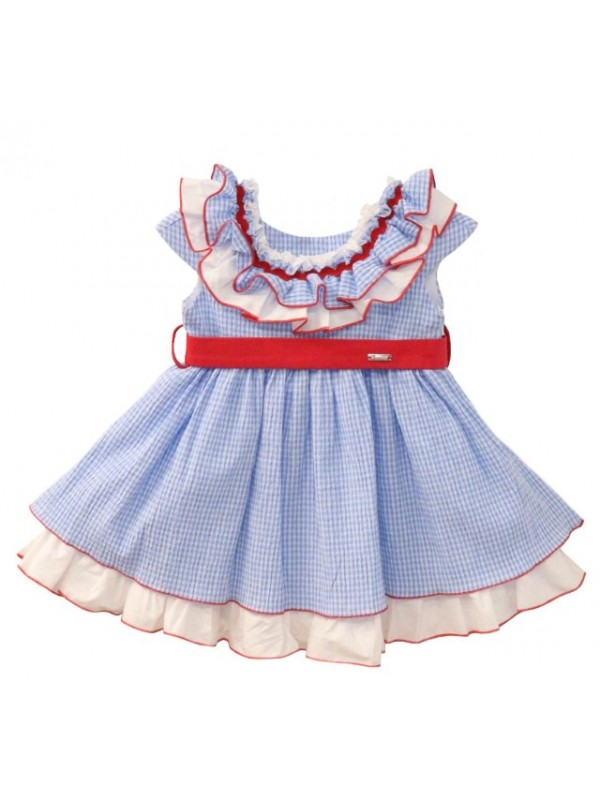 Nekenia blue and white gingham puffball dress