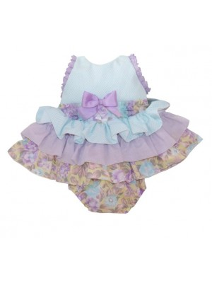 amor de madre lilac and mint ruffled top and knickers