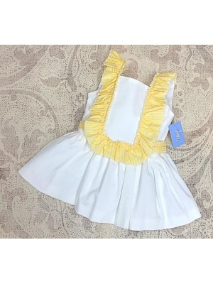 Babine white and yellow drop waisted ruffle dress