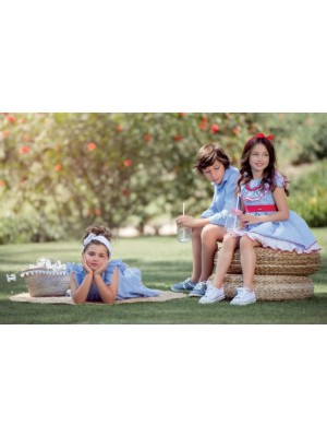 nekenia blue and white gingham boys set