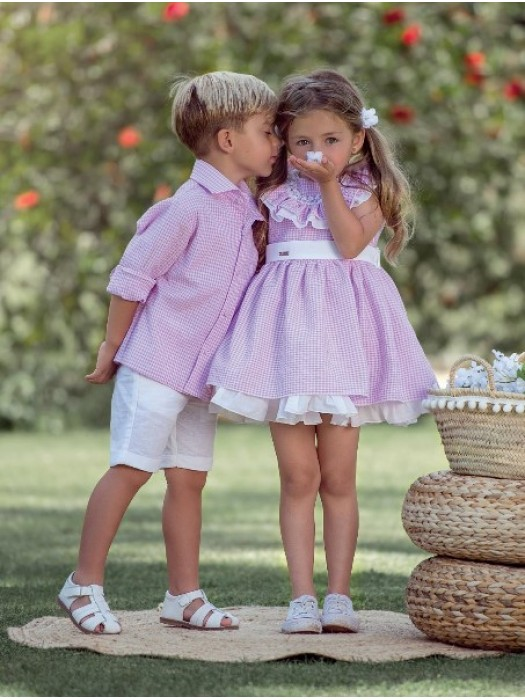 nekenia pink and white gingham puffball dress