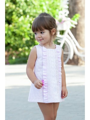 Babine pink ruffle trimmed a line dress