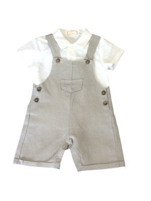 Babybol grey linen dungaree and shirt set