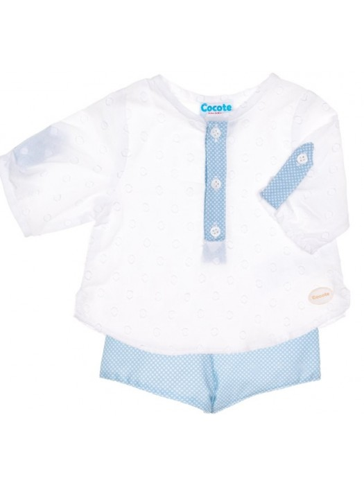 Cocote boys blue dot shorts and shirt set