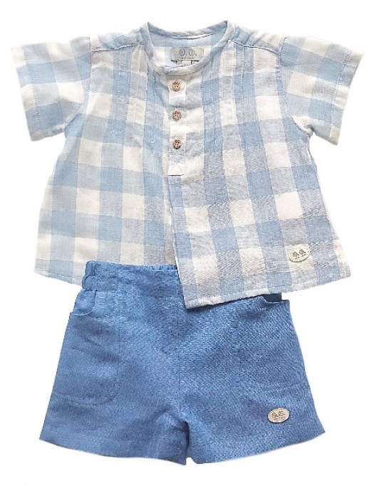 Jose Varon blue gingham checked shirt and shorts set
