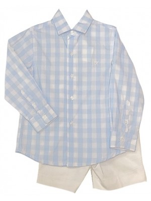 Miranda blue and white gingham shirt and shorts set sold out