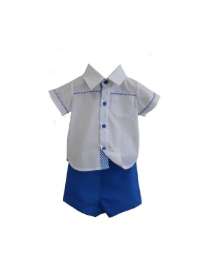 Sardon French blue boy's shirt and shirt set