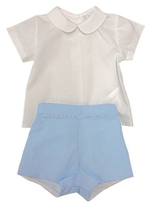Sardon boys pale blue shorts and Peter Pan shirt set