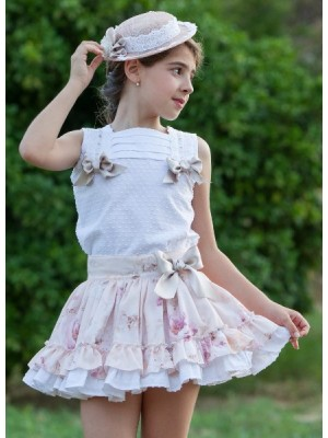 Sold out Abuela Tata peach floral skirt and blouse set