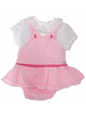 Babine pink gingham romper and ruffle blouse set