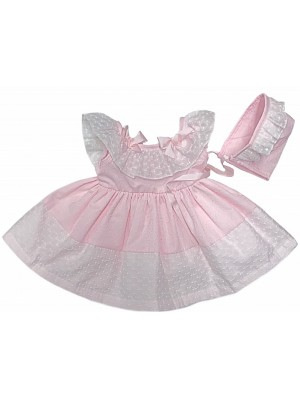 Ceyber pink puffball ruffle trimmed  dress and bonnet set