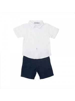 babybol white and navy shorts set