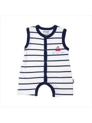 babybol navy and white nautical shortall