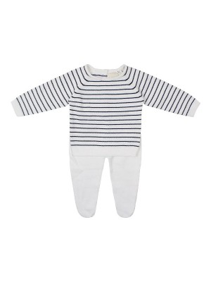 babybol navy and white fine knit 2 piece set